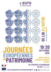 Affiche des Journées européennes du patrimoine. Photos et dessins de fleurs de lin en bleu et jaune.